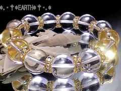 天然石★14ミリ高級天然水晶AAAクリスタル金ロンデル数珠