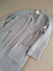 《新品》袖編み柄 ロングニットカーディガン ライトグレー LL
