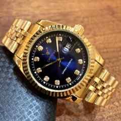 最安値★ロレックスデイトジャストタイプ♪メンズ腕時計・ダークグリーン×ゴールド