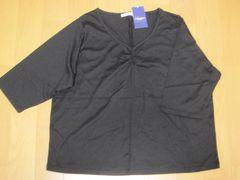 大きいサイズ5L★bitter syrup五分袖V襟黒カットソー