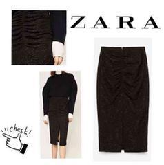 新品 Lサイズ ZARA ドレープスカート キラキラ 送料200円