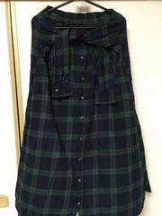 シュカ♪シャツ巻き風ロングスカート激安レタパ360ナチュラル