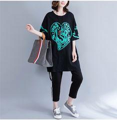 大きいサイズ☆ゆったりロゴTシャツF
