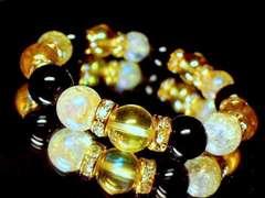ゴールデンオーラ§レインボーオーラクラック水晶オニキス10ミリ金ロンデル数珠