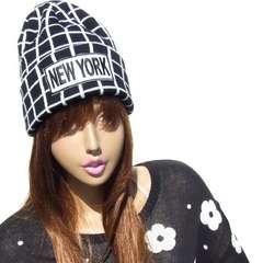 帽子♪NEWYORK 刺繍 格子柄 ニット帽 ニットキャップ*ブラック