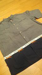 トリプル5ソウルデザインロゴ刺繍チェック半袖シャツ 紺系 サイズXL→XXL2XL