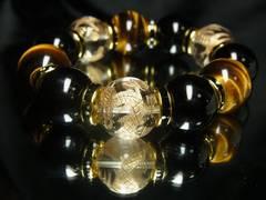 大玉18ミリ!!!皇帝龍本水晶×タイガーアイ×ブラックオニキス数珠