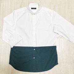 【used】バイカラー7分袖シャツ/メンズM/白×緑/RAGEBULE