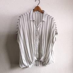 ◆ストライプ柄オーバーサイズシャツ◆ホワイトM*bigサイズ感★1回着用のみ美品♪