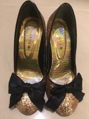 靴セール★ゴールドラメウェッジパンプス リボン