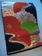 黒/華ヤカ大輪菊袋帯正絹チョー美品レタパP