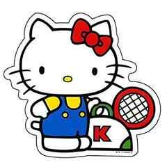 キティちゃんテニスデザイン<70'S風>★ダイカットシール(ステッカー)