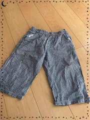 紺×白ギンガムチェック/ウエストゴム/半ズボン/160�p