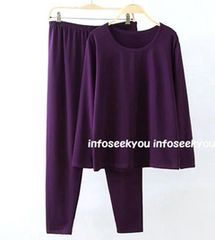 5L大きいサイズ/部屋着パジャマTシャツ+パンツ上下2点セット/紫