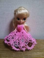 プチブライスofピンクのレース編みドレス