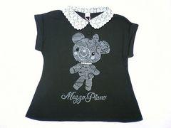 値下げ処分メゾピアノJrフェイクパール&ドレスアップコロンちゃん半袖Tシャツ