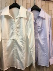 新品☆LLサイズ胸ギャザーシャツ2枚!オフィス制服事務服☆s868