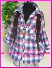 春新作◆大きいサイズ3Lピンク系チェック柄◆前ボタン◆シャツチュニック
