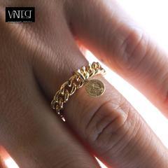 超小コイン x 3ミリ ゴールド チェーン リング/指輪