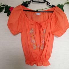 SANDPIPER◆オレンジ 刺繍 ふんわり ブラウス コットン シャツ