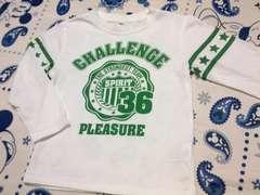 男の子用長袖・ロンTサイズ110�p一度着用のみ白×緑