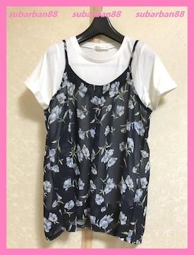 ☆今期新品☆花柄シフォンフレアキャミ&TシャツセットL☆