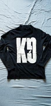 ★KANGOLカンゴール黒×白ロゴプリント綿ハイネック長袖Tシャツ