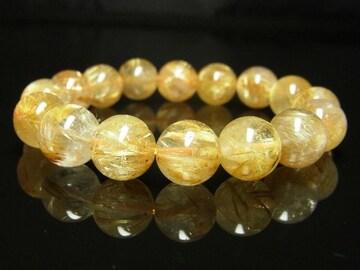 金運を招き寄せる 天然石数珠 極上タイチンルチルブレスレット 12mm