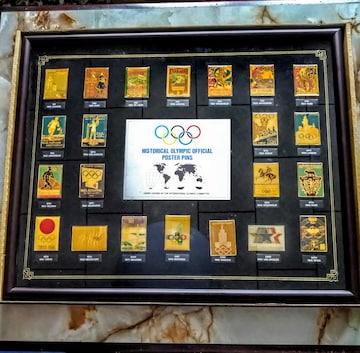 歴代オリンピック 公式ポスター  デザインバッチ 額縁