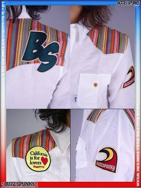 BUZZSPUNKY(バズスパンキー)SURFワッペンラグシャツ/M < ブランドの