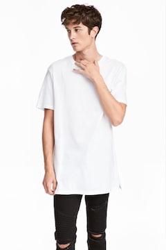 H&M LONG TEE TALL ロング Tシャツ 無地 半袖 完売 ジャスティンビーバー カニエ