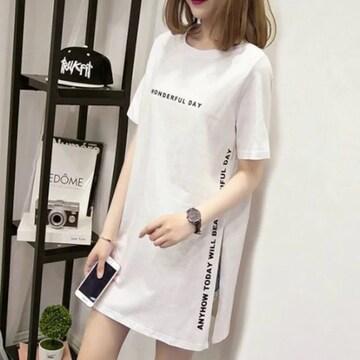 特別提供価格1190円★超人気スリット入りロゴTシャツ 白L