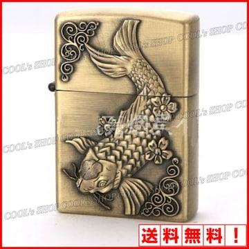 錦鯉 立体彫り オイルライター JNGLIANG ゴールド 鯉  Zippo 金