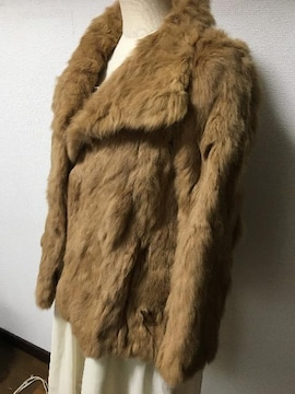【ジルスチュアート】ラビットファーの毛皮コートキャメル上品