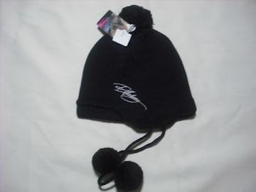 wb37 女 BILLABONG ビラボン 耳当て ボンボン付き ニット帽 黒