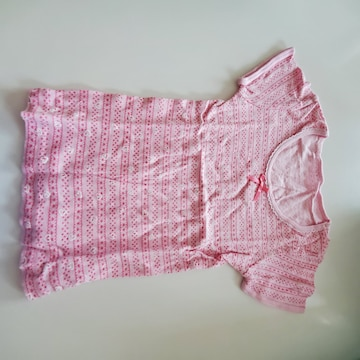 ピンクボーダー、ハート柄半袖シャツA100