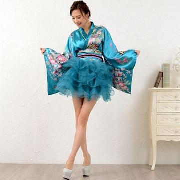 和柄 フリルサテン着物 ダンス ミニ  衣装 花魁風 よさこい キャバ チャムドレス
