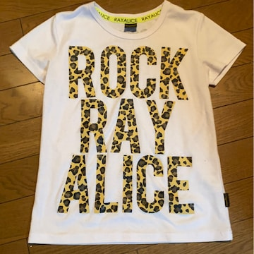 *Rayalice *ヒョウ柄文字白Tシャツ*140