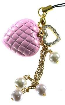 携帯ストラップ・縫い目ぷっくりハート ピンク