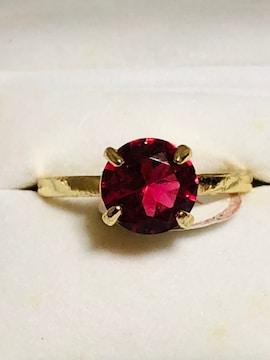 #21*濃いめピンクの一粒可愛いリング*