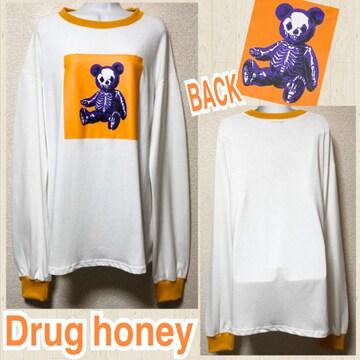 【新品/Drug honey】POPスケルトンテディプリントロンT