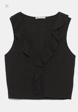 タグ新品ザラZARAノースリーブブラウスシャツトップス黒ブラック