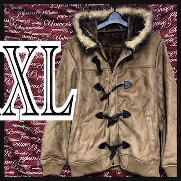 XL・ファーフード付きダッフルコート新品/MCfu911-010