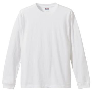 5.6オンス ロングスリーブTシャツ(1.6インチリブ)ホワイトXL
