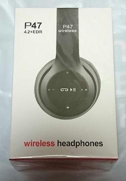 P47 wireless headphones ワイヤレス ヘッドホン 黒