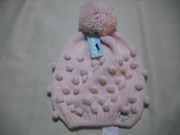 wb66 ROXY ロキシー ボンボン付き ニット帽 ピンク