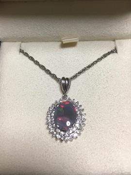 ダイヤモンド×ブラックオパール ネックレス Pt900 1.72ct 8.5g