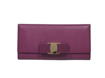 正規フェラガモヴァラ長財布リボンパープル系赤紫FERR