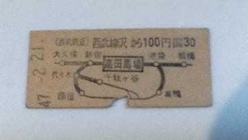 鉄道 切符 西武鉄道 キップ 乗車券 高田馬場