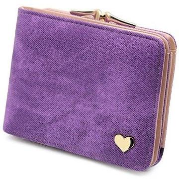 ★送料無料★ 二つ折り財布 収納力◎ 紫 他カラー有